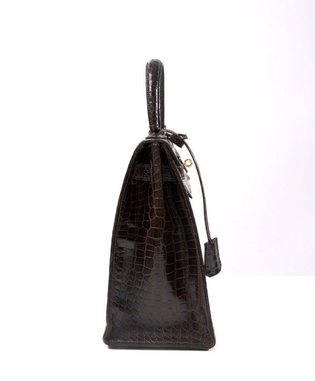 Hermes Brown Kelly 32 cm Crocodile Prosorus bag 3