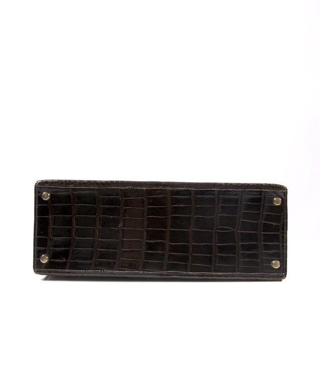 Hermes Brown Kelly 32 cm Crocodile Prosorus bag 4