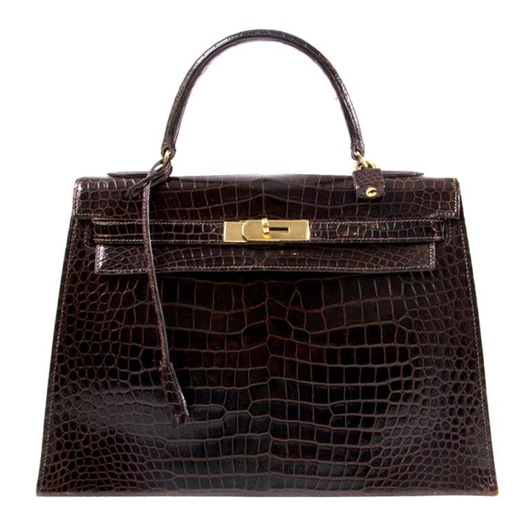 Hermes Brown Kelly 32 cm Crocodile Prosorus bag 1