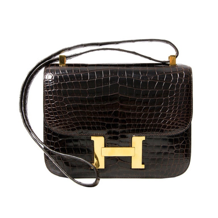 8bc630c1cfd Hermes Constance Brown Croco 23 For Sale. Hermes Constance bag in dark ...
