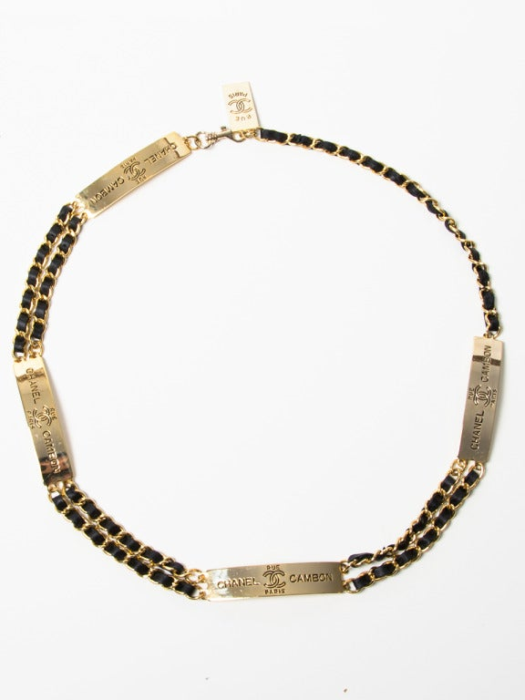 chanel gold and leather chain belt at 1stdibs