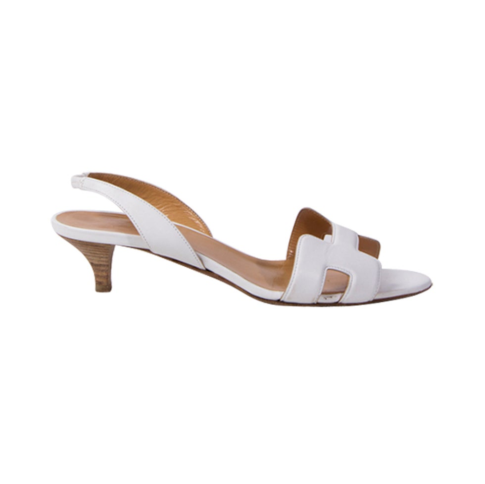 White Kitten Heel Sandals