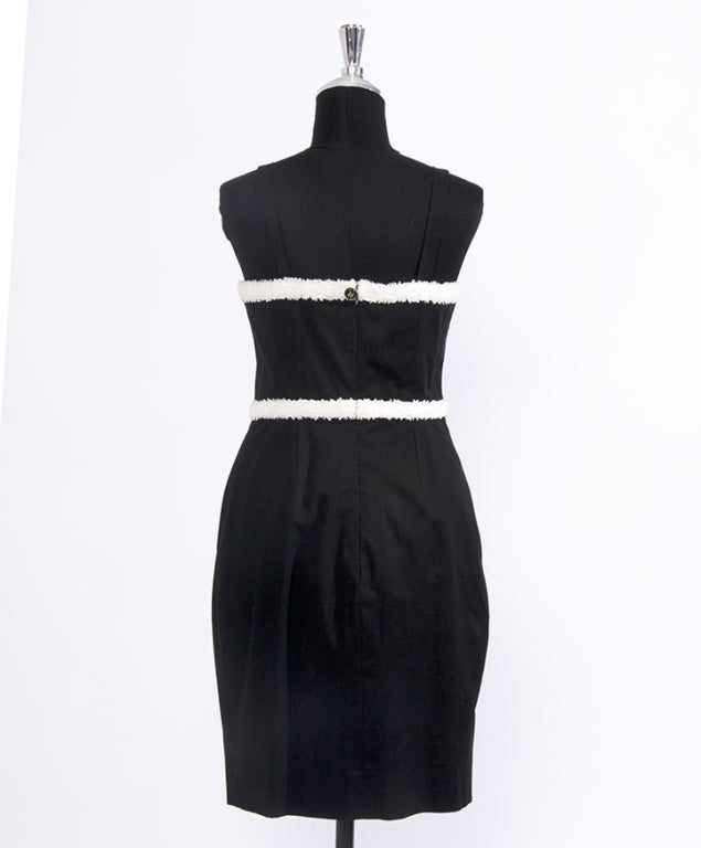 Women's CHANEL Black and white cotton dress For Sale