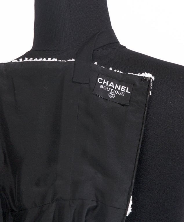 CHANEL Black and white cotton dress For Sale 1