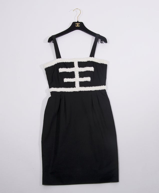 CHANEL Black and white cotton dress For Sale 2