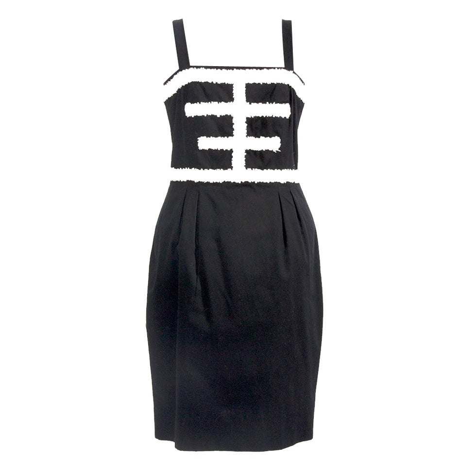 CHANEL Black and white cotton dress For Sale