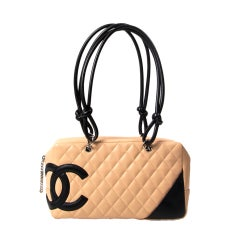 Chanel Cambon bag 30 cm in nude and black