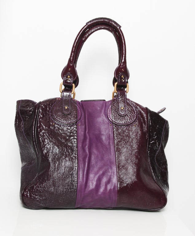 Chloé Two-Tone Purple Glazed Tote 4