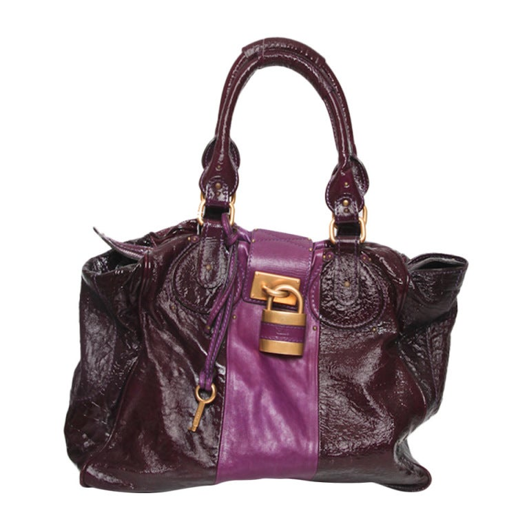 Chloé Two-Tone Purple Glazed Tote 1
