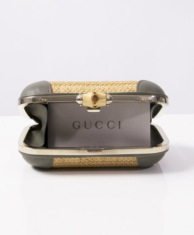 885cc462a12 Gucci Wicker Clutch With Strap at 1stdibs