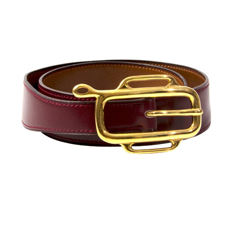 herms burgundy leather gold clasp belt at 1stdibs
