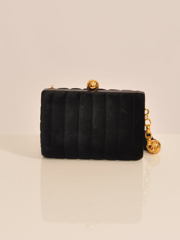 Women's CHANEL VELVET BLACK & GOLD HARDWARE CLUTCH For Sale