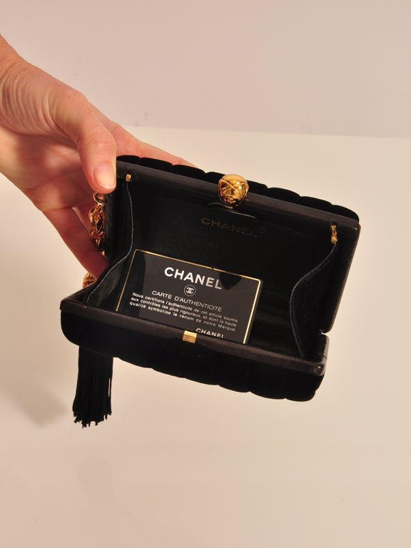 CHANEL VELVET BLACK & GOLD HARDWARE CLUTCH For Sale 1