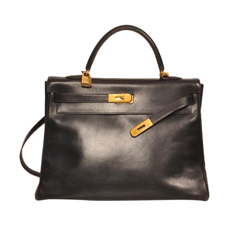 Hermes Kelly 35cm black boxcalf bag 1