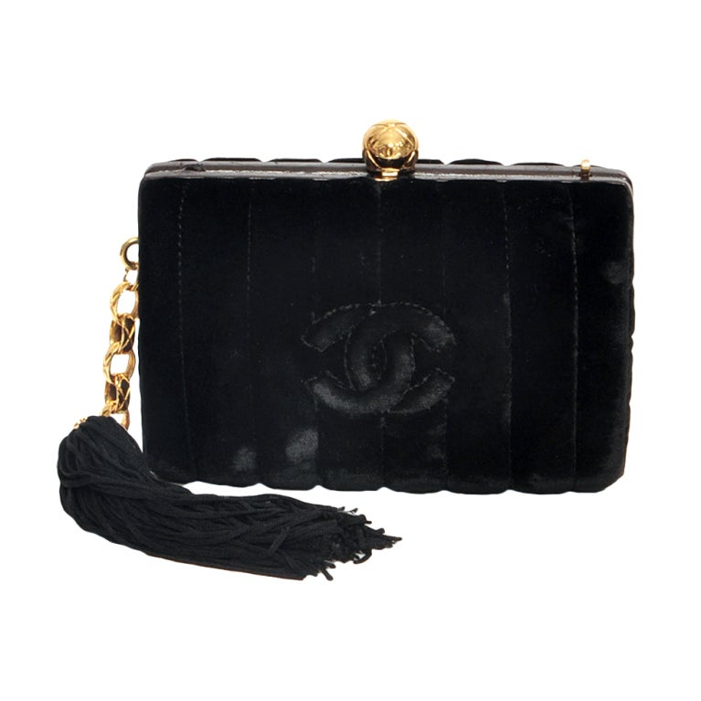 CHANEL VELVET BLACK & GOLD HARDWARE CLUTCH For Sale
