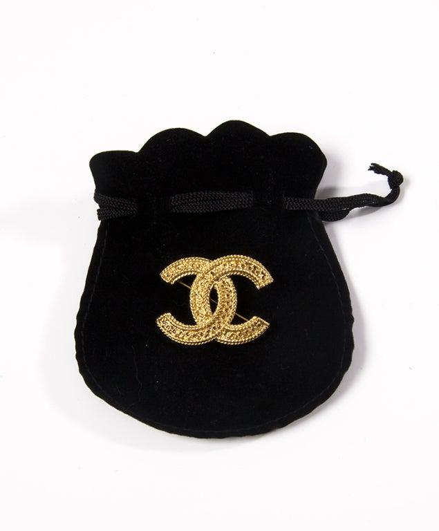 Chanel Gold Logo Brooch image 3