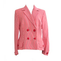 Versace Linen Striped Blazer Jacket