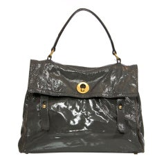 YSL Grey patent leather handbag