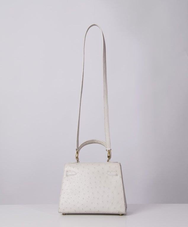 HERMES MINI KELLY BAG OSTRICH 20 CM WHITE 2