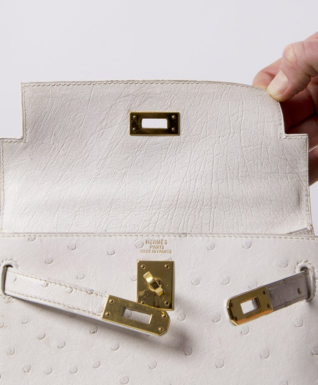 HERMES MINI KELLY BAG OSTRICH 20 CM WHITE 3