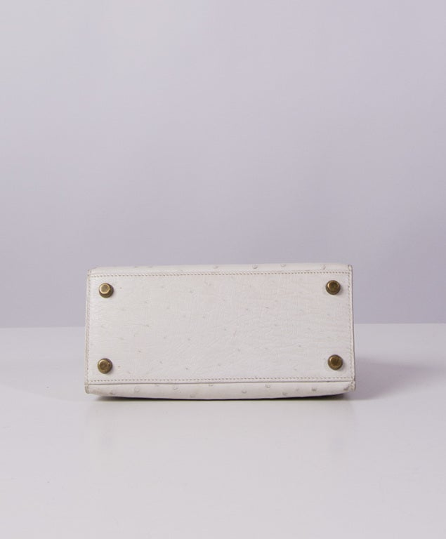 HERMES MINI KELLY BAG OSTRICH 20 CM WHITE 4