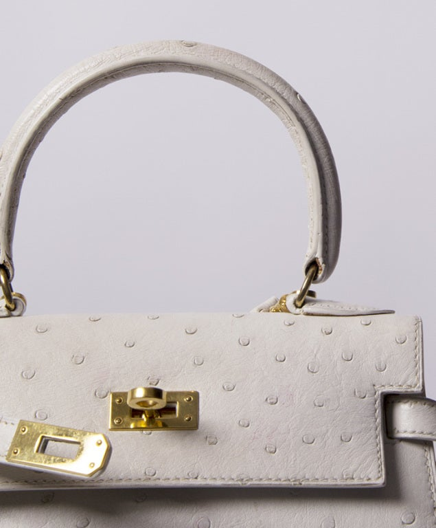 HERMES MINI KELLY BAG OSTRICH 20 CM WHITE 7