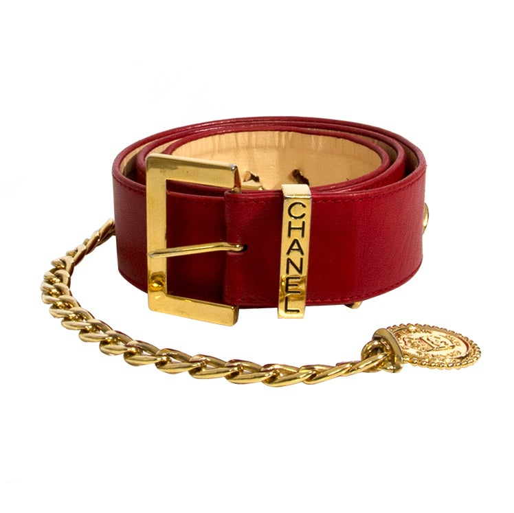 Chanel Red Leather Belt with Golden Chain and Medallion For Sale