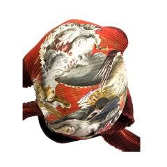 Hermes pleated scarf in pheasant print