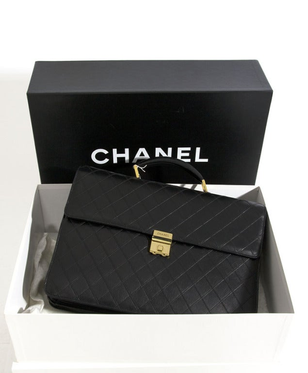 Chanel Vintage Quilted Lambskin Classic Executive Briefcase Bag 6
