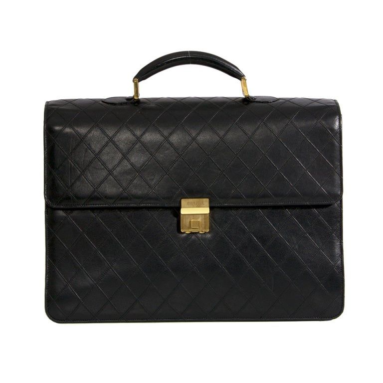 Chanel Vintage Quilted Lambskin Classic Executive Briefcase Bag 1