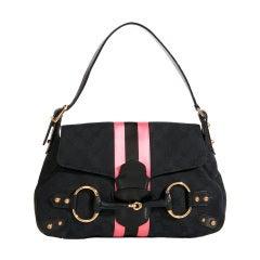 Gucci Guccisima Horsebit Black Pink Stripe Flap Bag