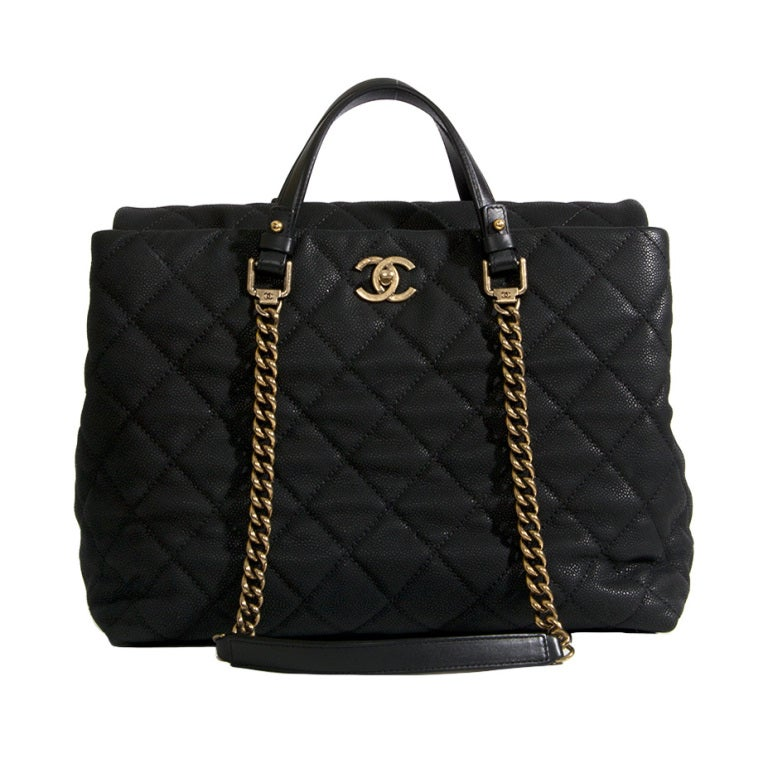 Chanel Large Tote Collection Spring/Printemps 2013 Black Grained 1
