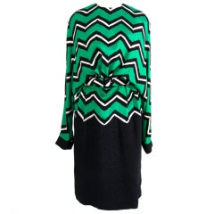 Unique Balmain Ivoire Dress Graphic Green Black