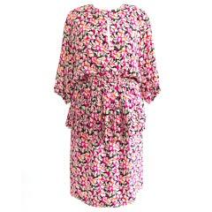Vintage Guy Laroch Silk Flower Peplum Dress Pink