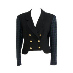 Chanel Dark 2 Piece Pant Suit with Tweed Blazer