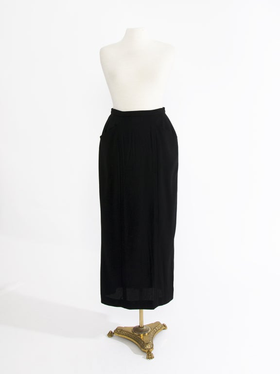 chanel black wool maxi skirt at 1stdibs
