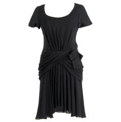 Chanel Silk Drape Black Cocktail Dress