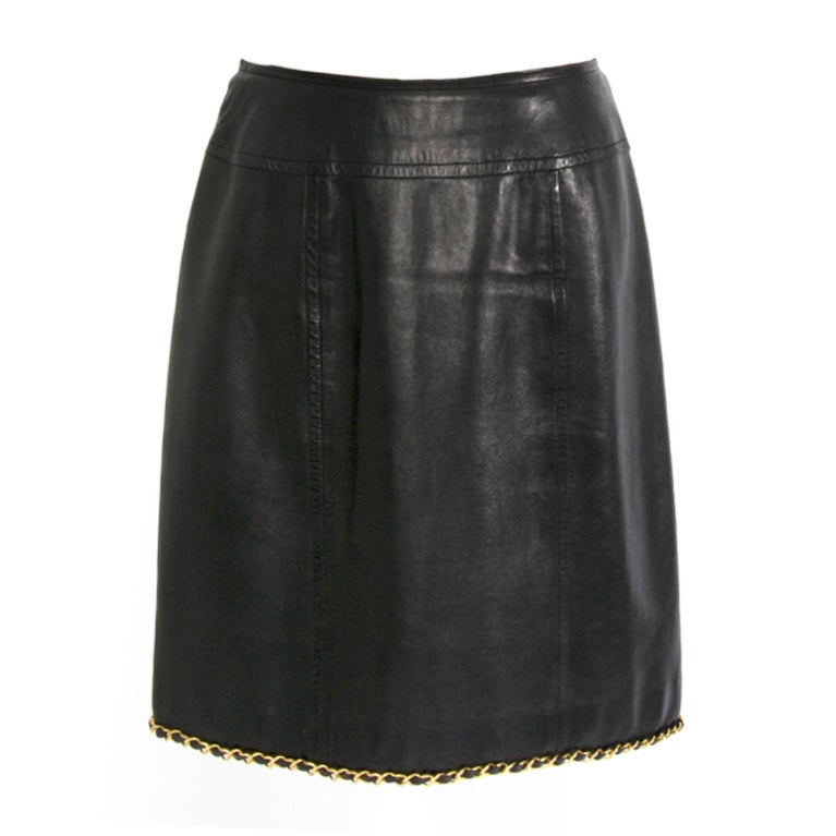 chanel black leather skirt with gold chain piping at 1stdibs