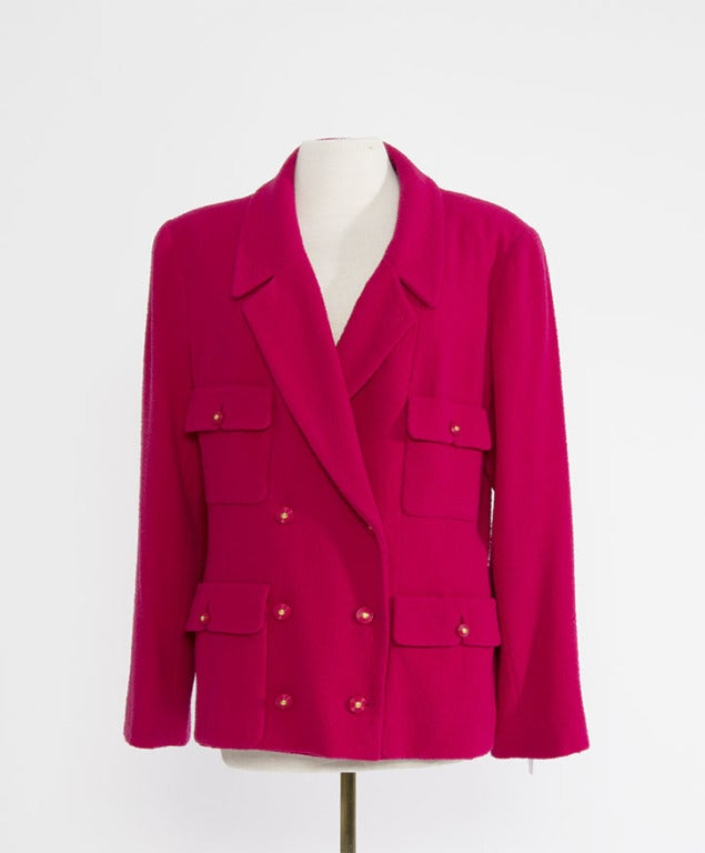 Chanel Vibrant Raspberry Red Skirt Suit With Wool Blazer At 1stdibs