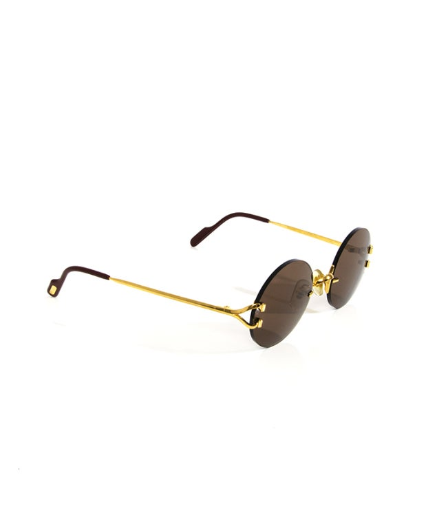 Women's Cartier Round Sunglasses 90s Gold For Sale