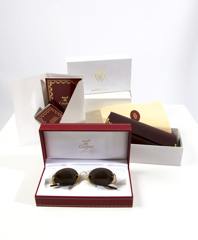 Cartier Round Sunglasses 90s Gold For Sale 4