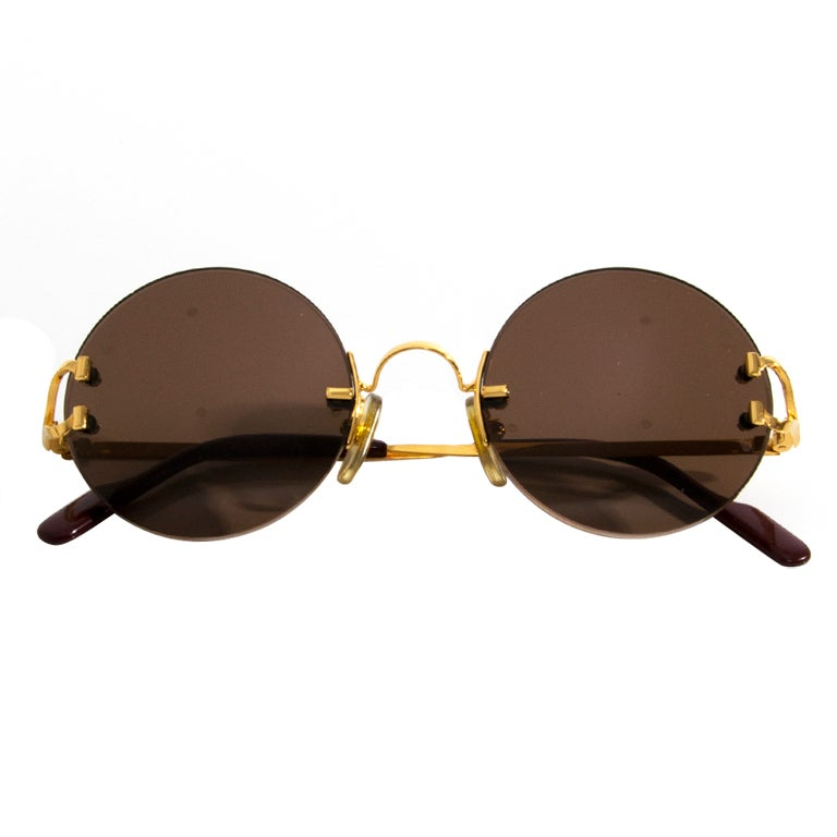 Cartier Gold Frame Sunglasses : Cartier Round Sunglasses 90s Gold at 1stdibs