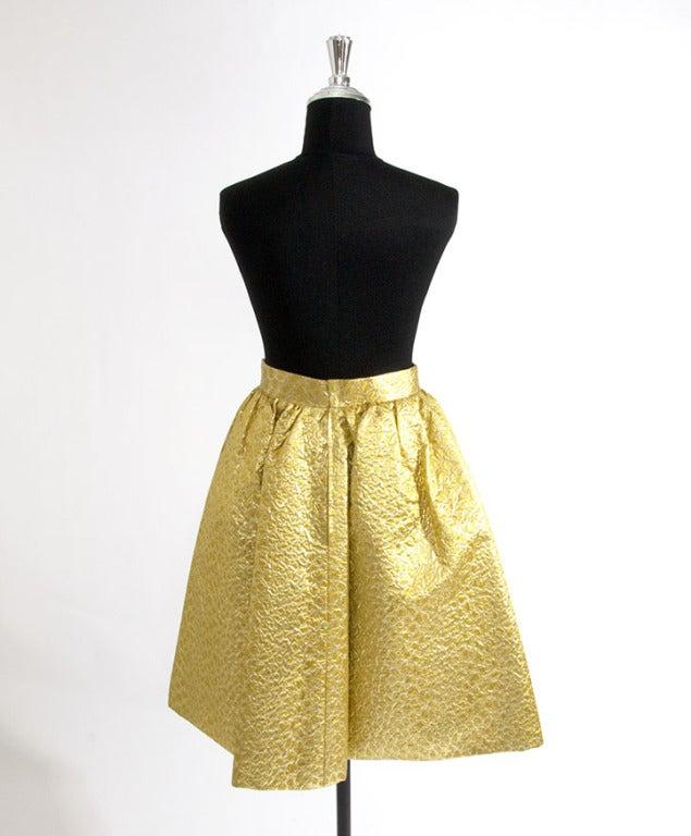 Givenchy Gold Jacquard Silk Skirt image 2