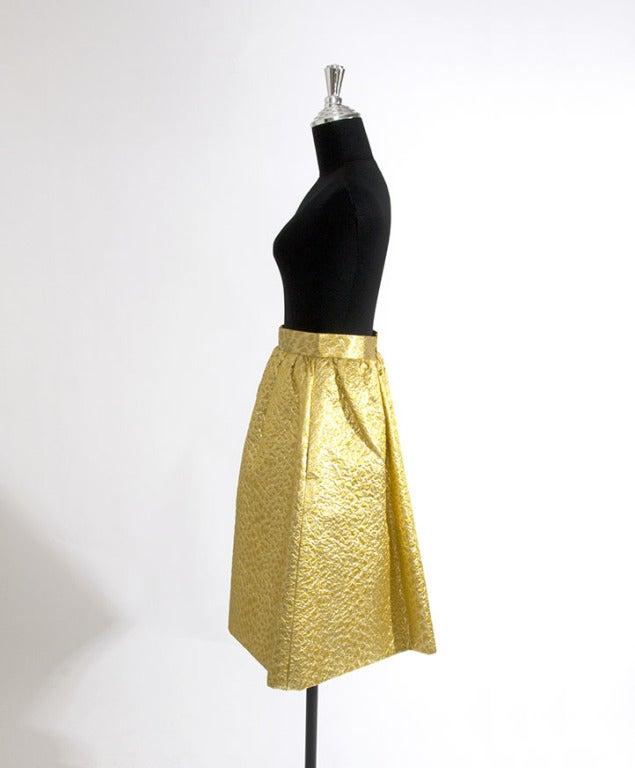 Givenchy Gold Jacquard Silk Skirt image 3