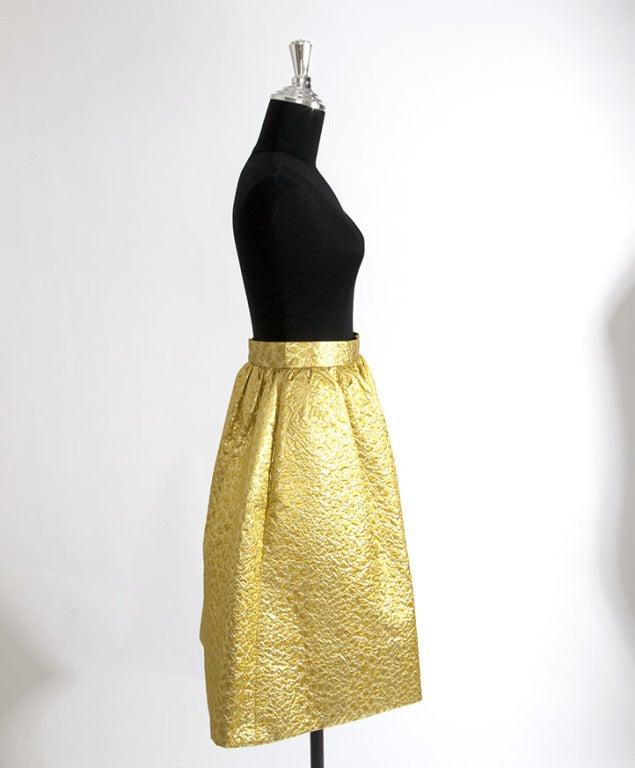 Givenchy Gold Jacquard Silk Skirt image 4