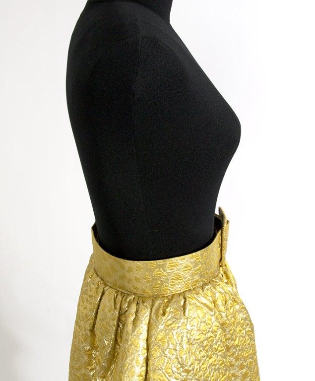 Givenchy Gold Jacquard Silk Skirt image 5