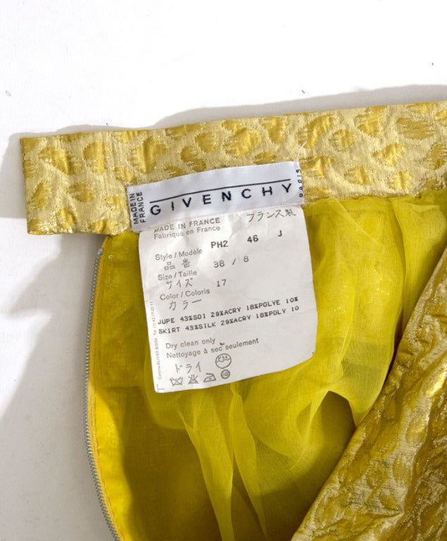 Givenchy Gold Jacquard Silk Skirt image 7