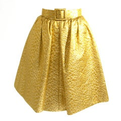 Givenchy Gold Jacquard Silk Skirt