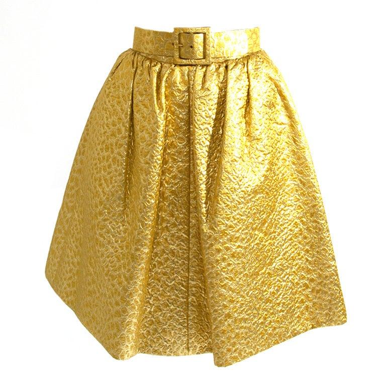 Givenchy Gold Jacquard Silk Skirt