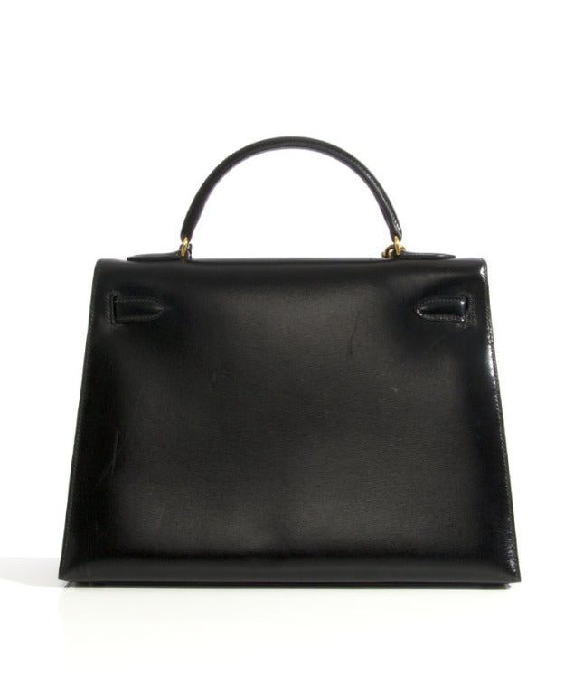 9f4890e0e10b BEAUTIFUL HERMES KELLY 32 CM SELLIER BLACK BOX CALF LEATHER Gold Hardware  EXCELLENT CONDITION